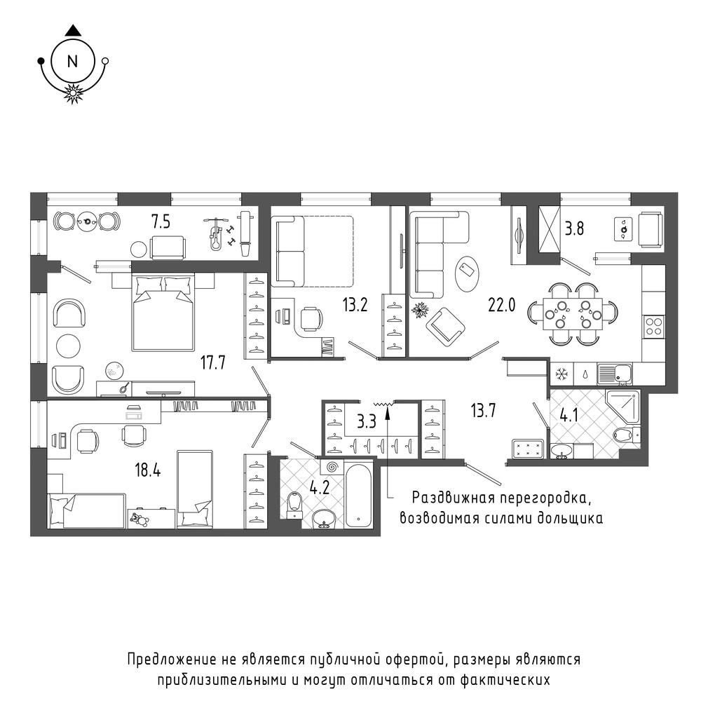планировка трехкомнатной квартиры в  №660