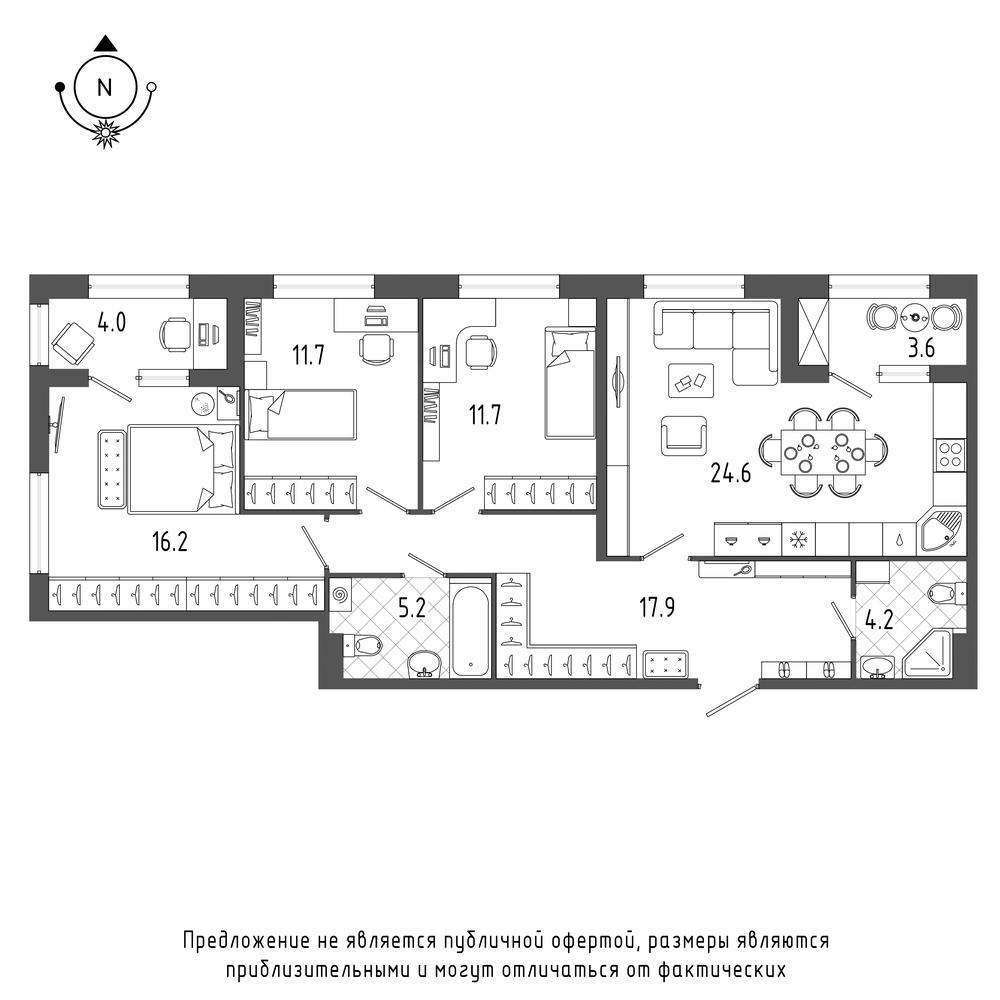 планировка трехкомнатной квартиры в  №860
