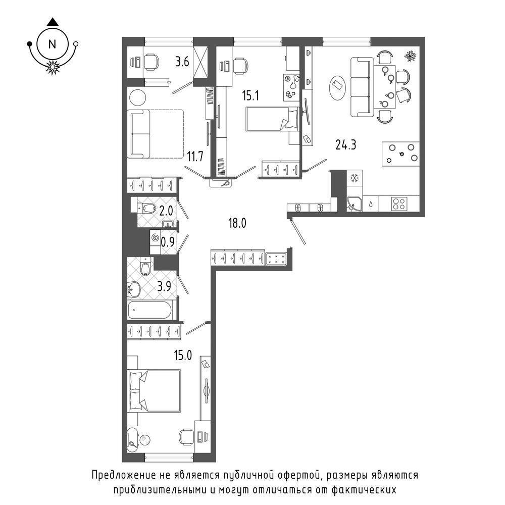 планировка трехкомнатной квартиры в  №634