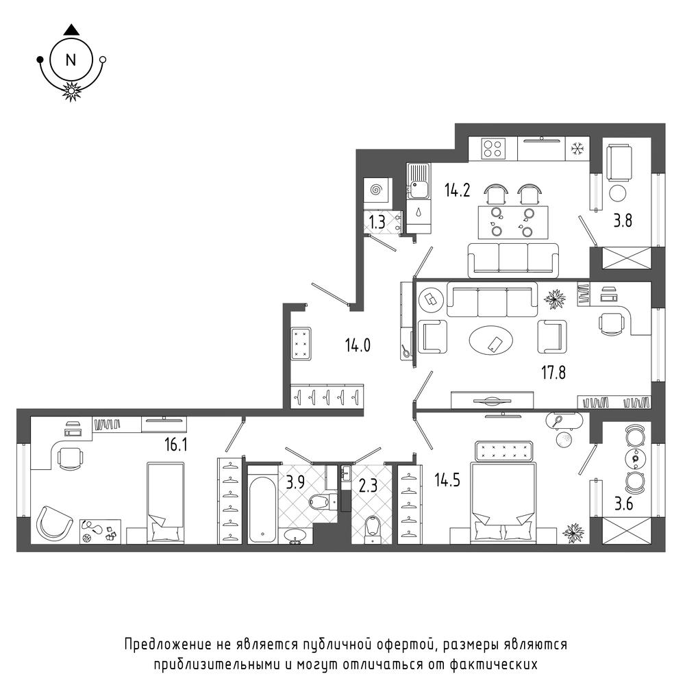 планировка трехкомнатной квартиры в  №304