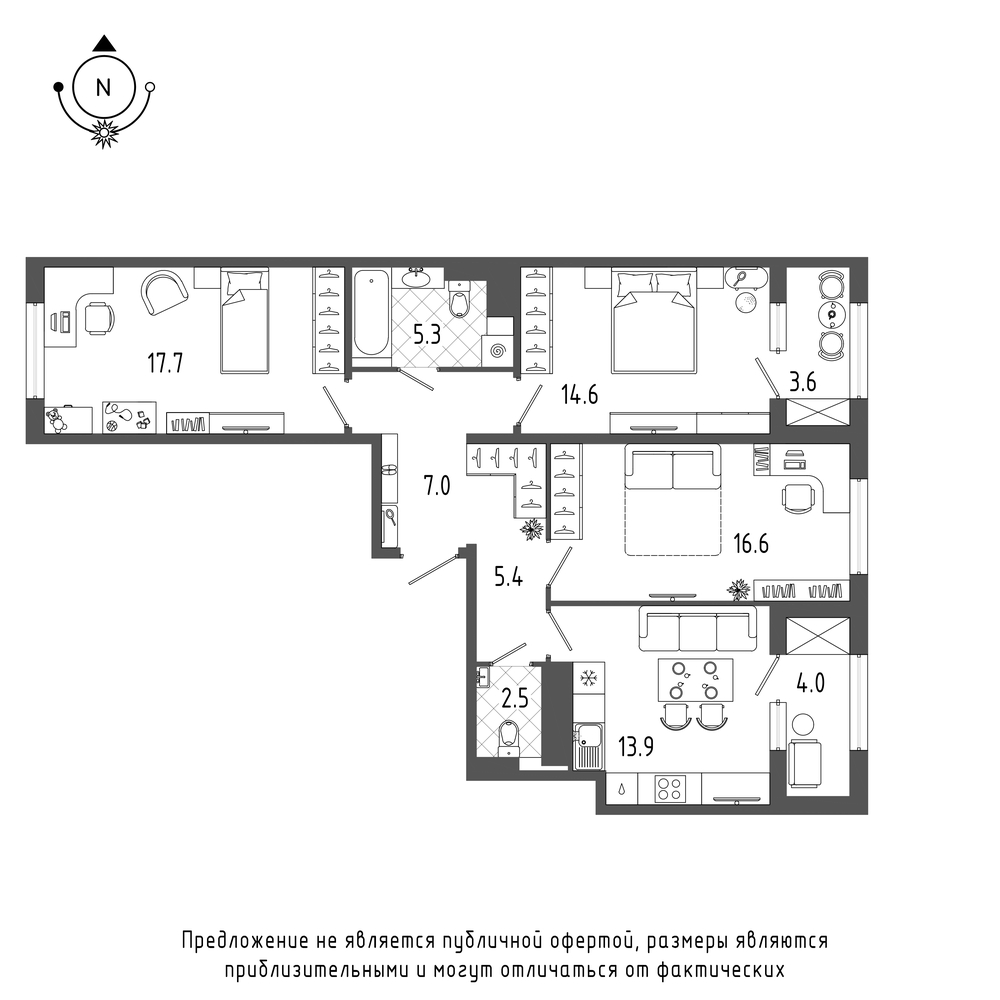 планировка трехкомнатной квартиры в  №258