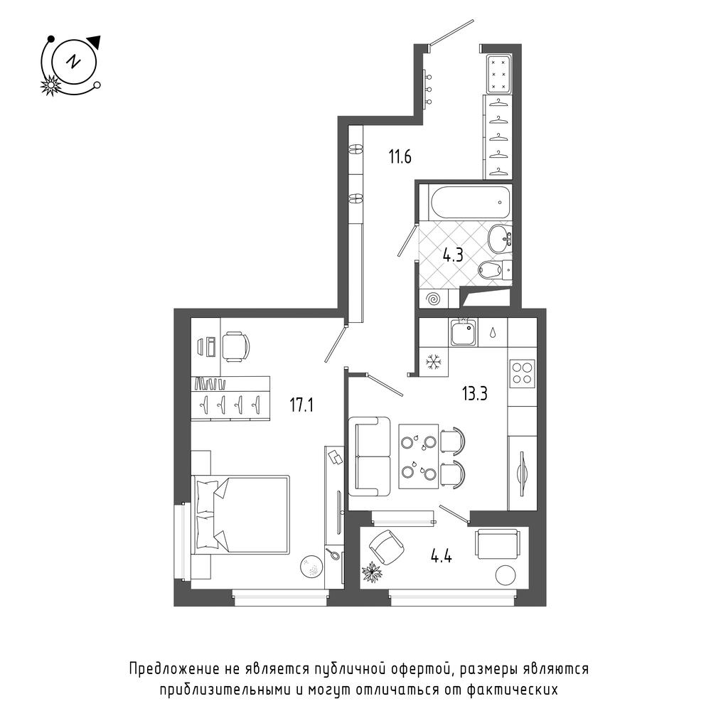 планировка однокомнатной квартиры в  №68
