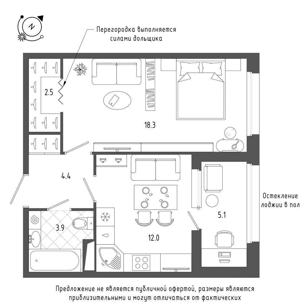 планировка однокомнатной квартиры в  №300