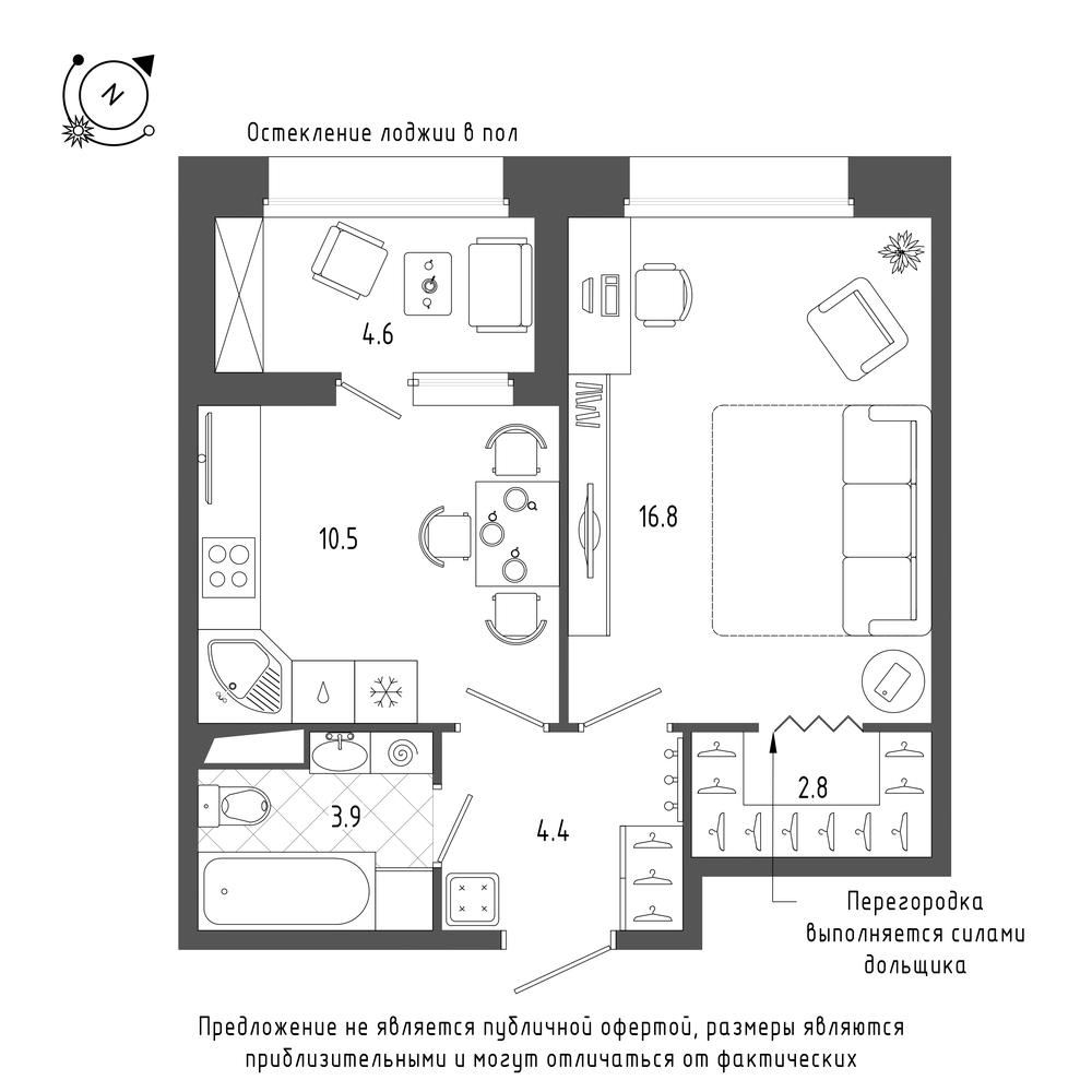 планировка однокомнатной квартиры в  №17