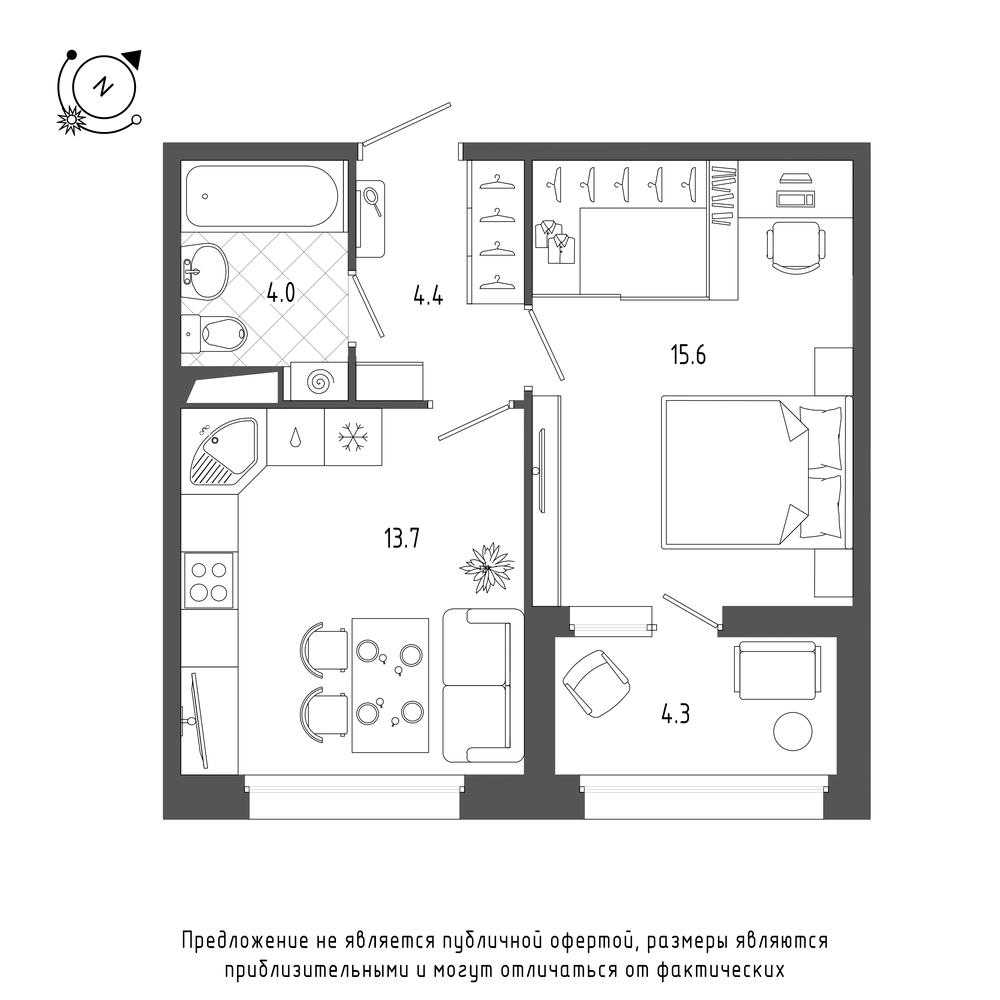 планировка однокомнатной квартиры в  №56