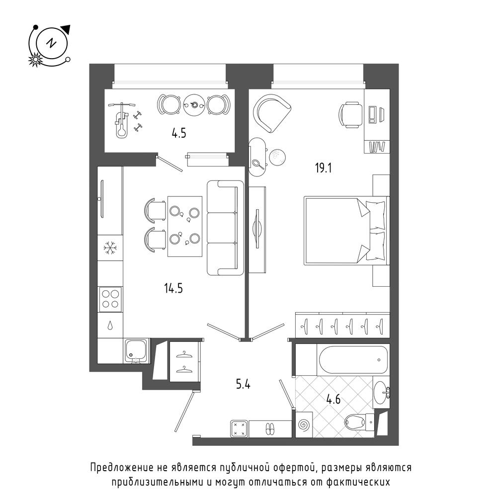 планировка однокомнатной квартиры в  №134