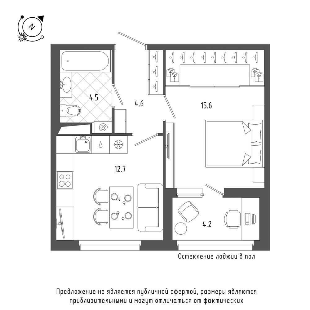 планировка однокомнатной квартиры в  №43