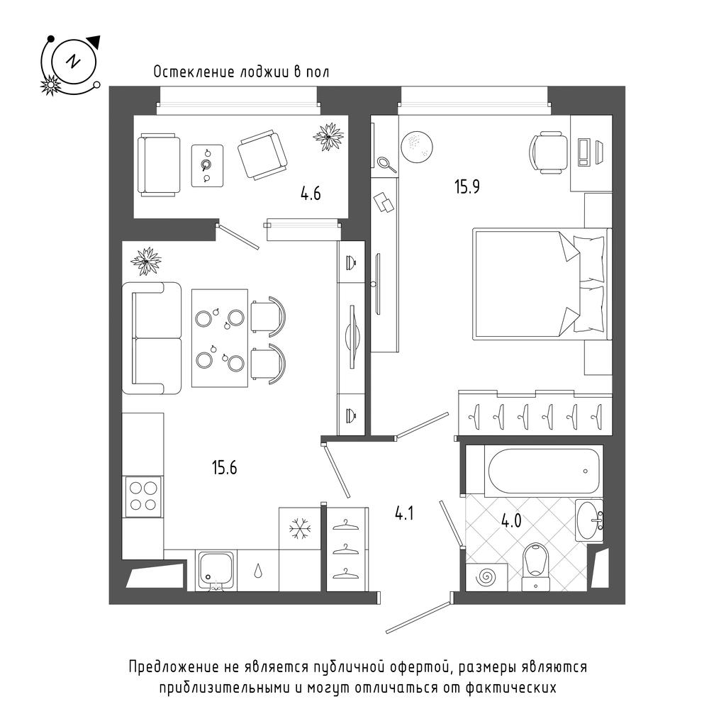 планировка однокомнатной квартиры в  №89