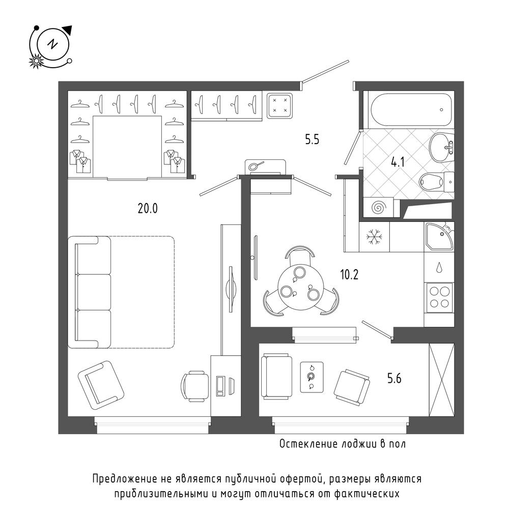 планировка однокомнатной квартиры в  №151