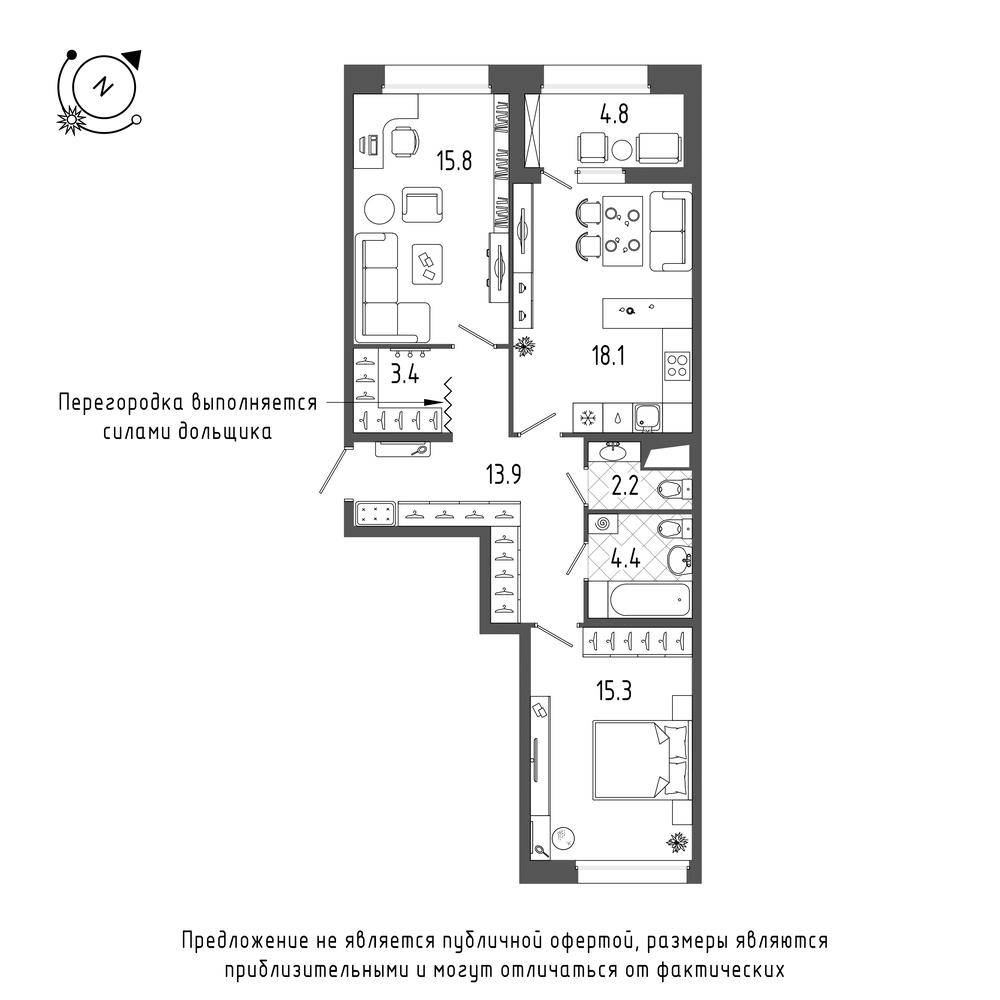 планировка двухкомнатной квартиры в  №2