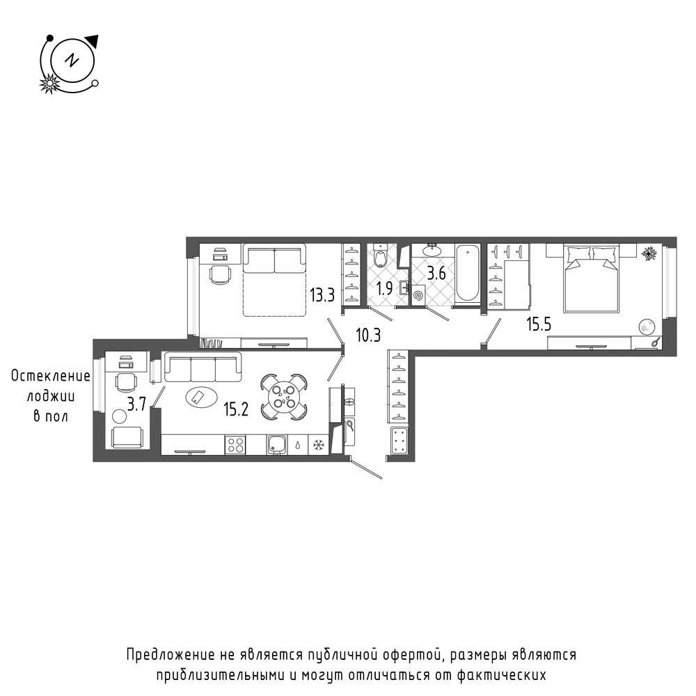 планировка двухкомнатной квартиры в  №275