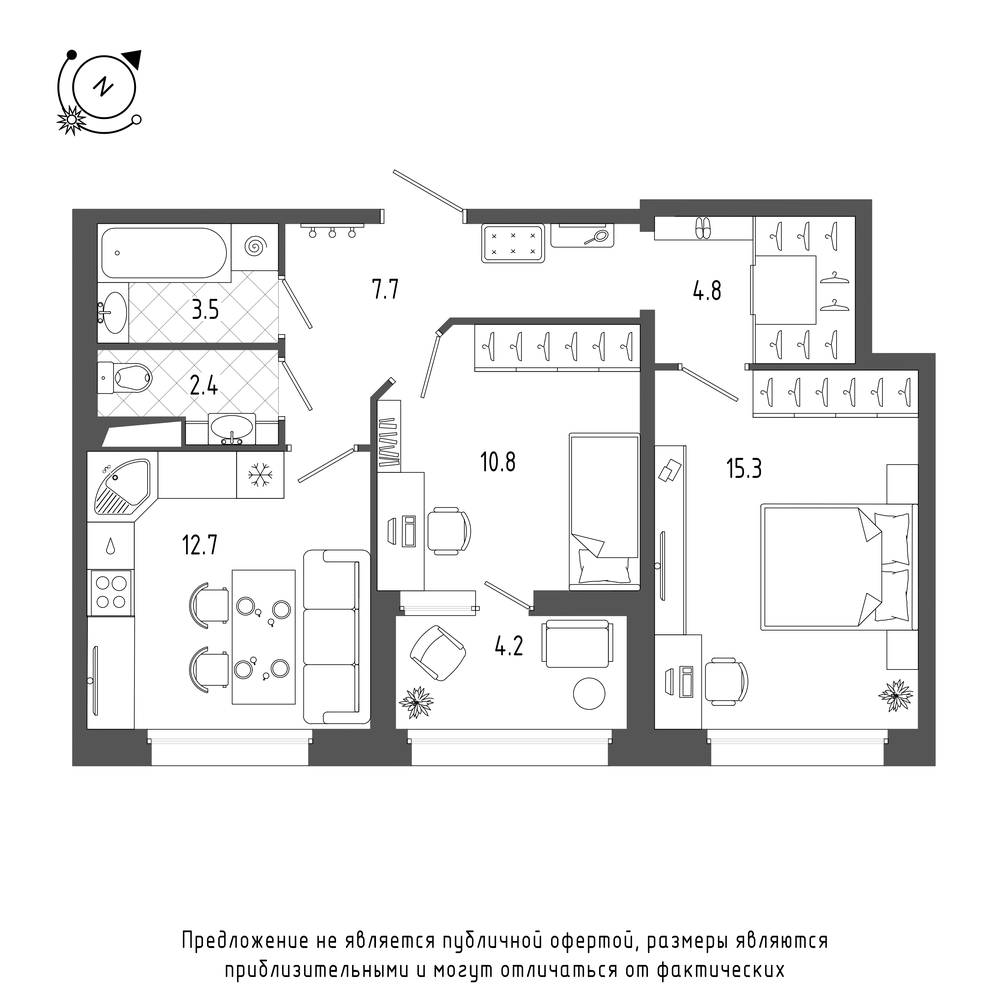 планировка двухкомнатной квартиры в  №3
