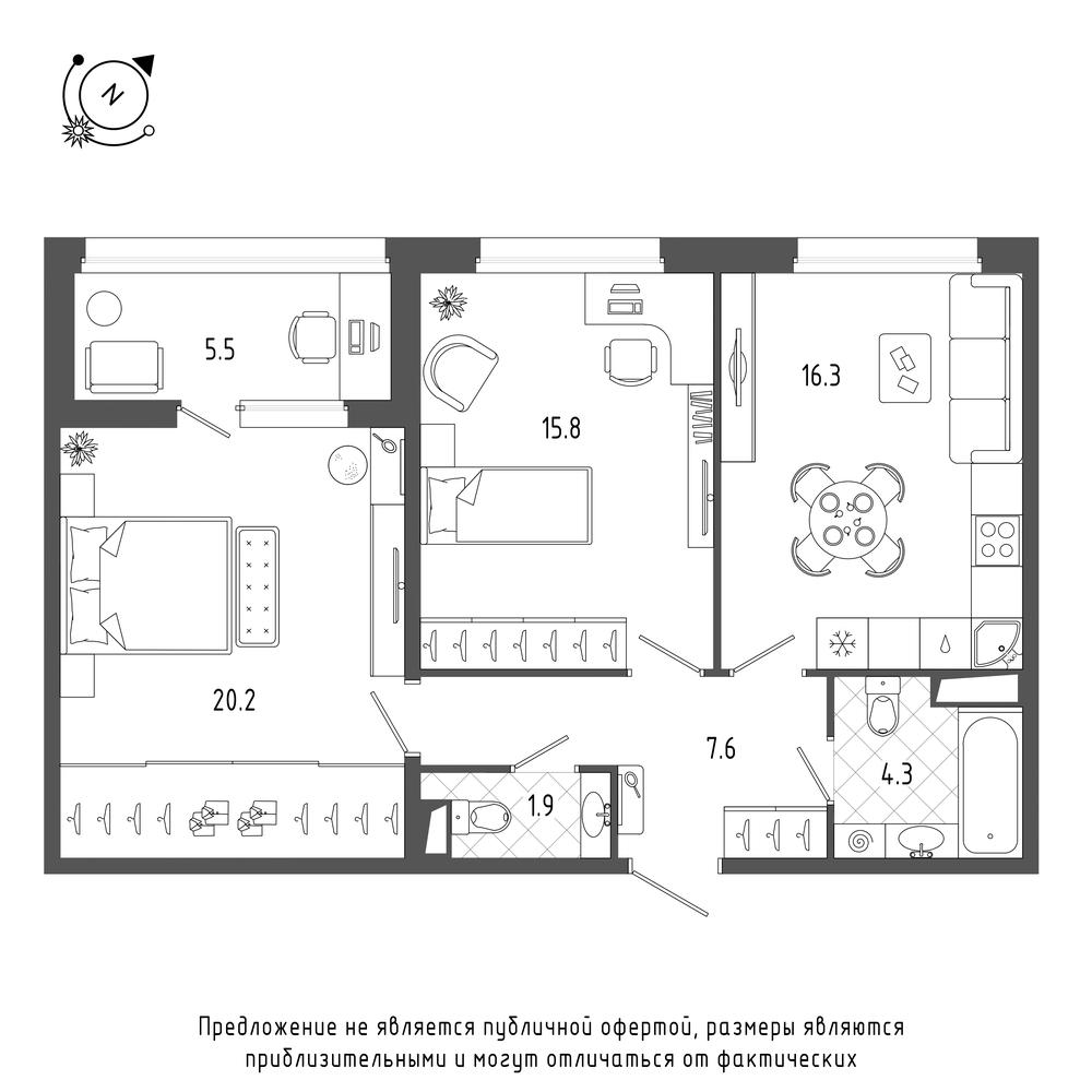 планировка двухкомнатной квартиры в  №123