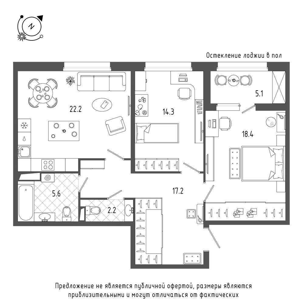 планировка двухкомнатной квартиры в  №22
