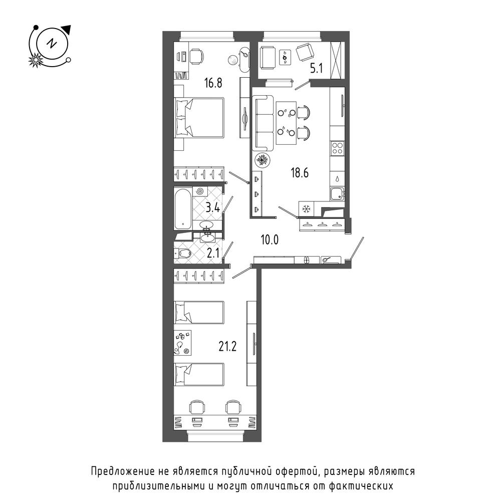 планировка двухкомнатной квартиры в  №70
