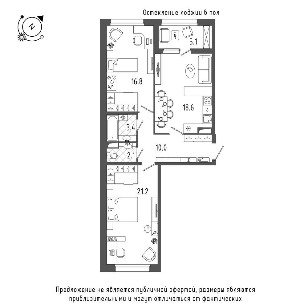 планировка двухкомнатной квартиры в  №106