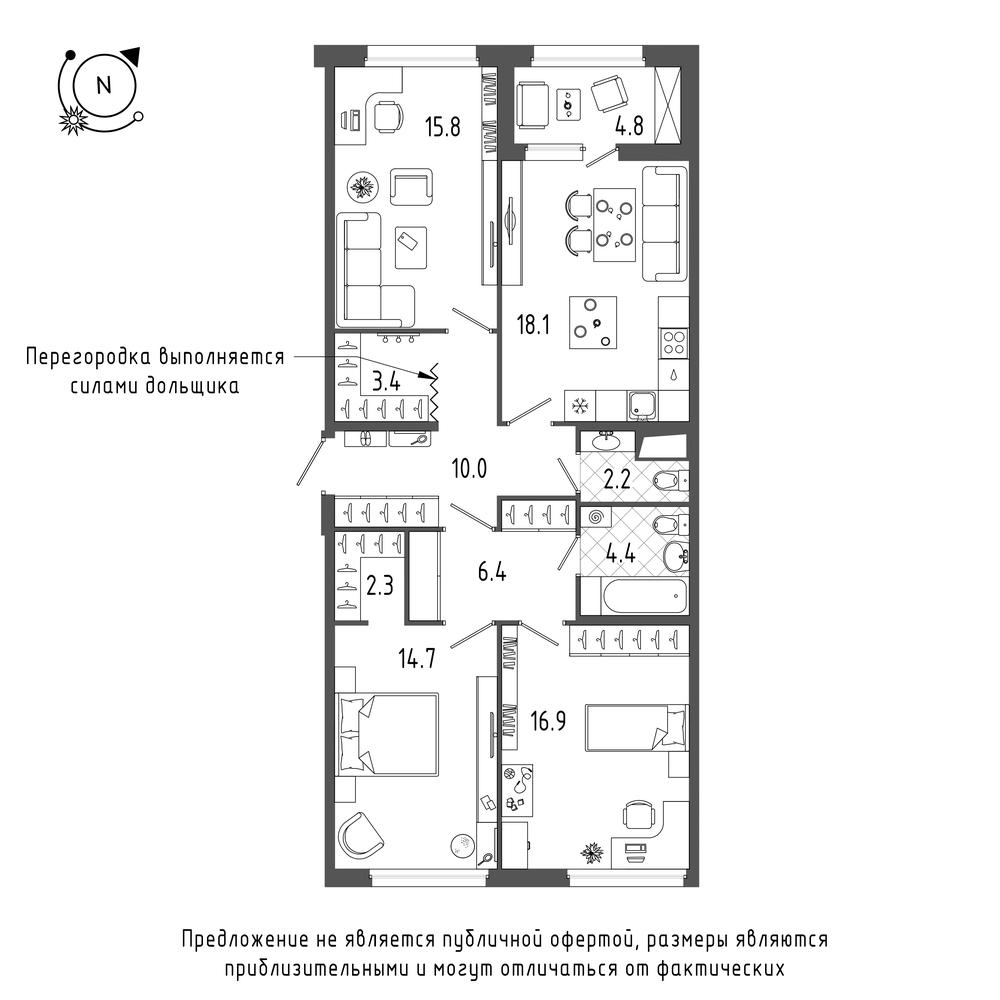 планировка трехкомнатной квартиры в  №54