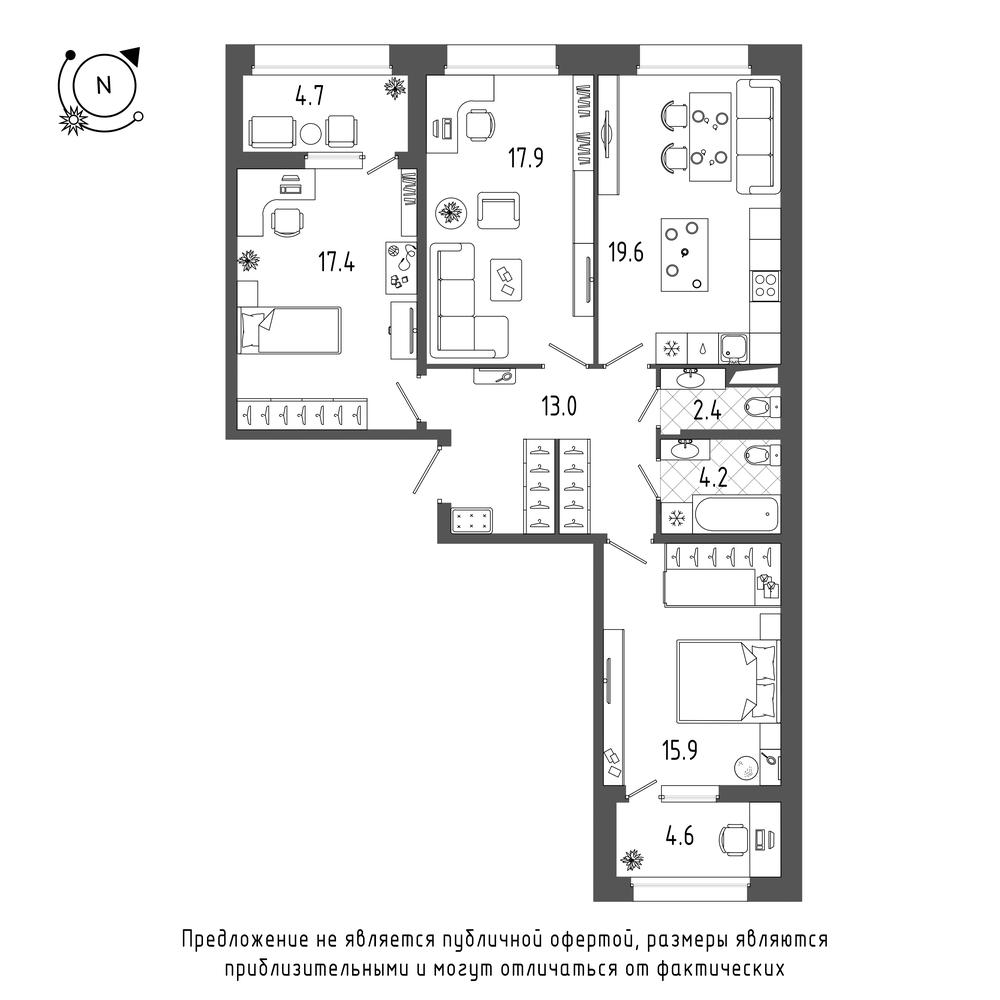 планировка трехкомнатной квартиры в  №60