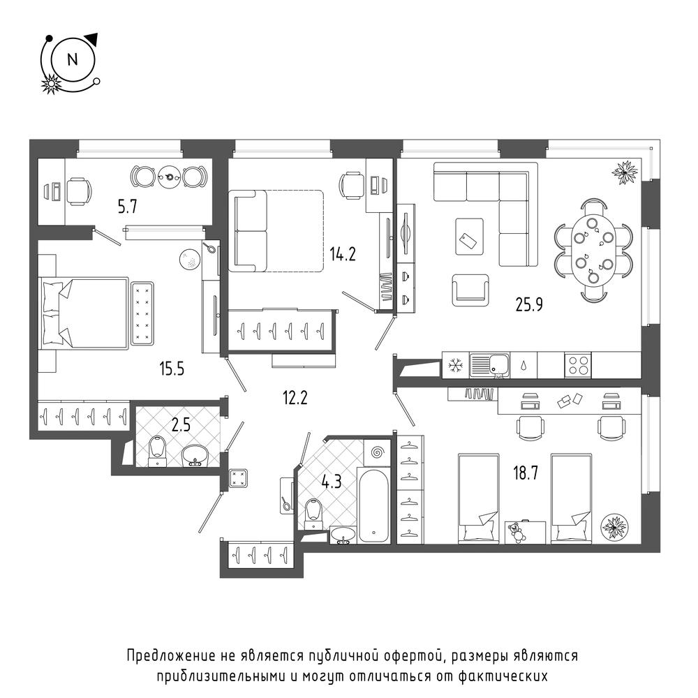 планировка трехкомнатной квартиры в  №220