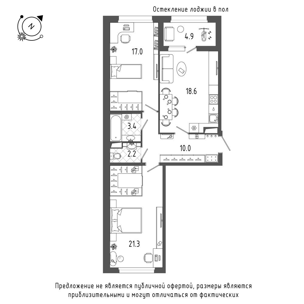 планировка двухкомнатной квартиры в  №195