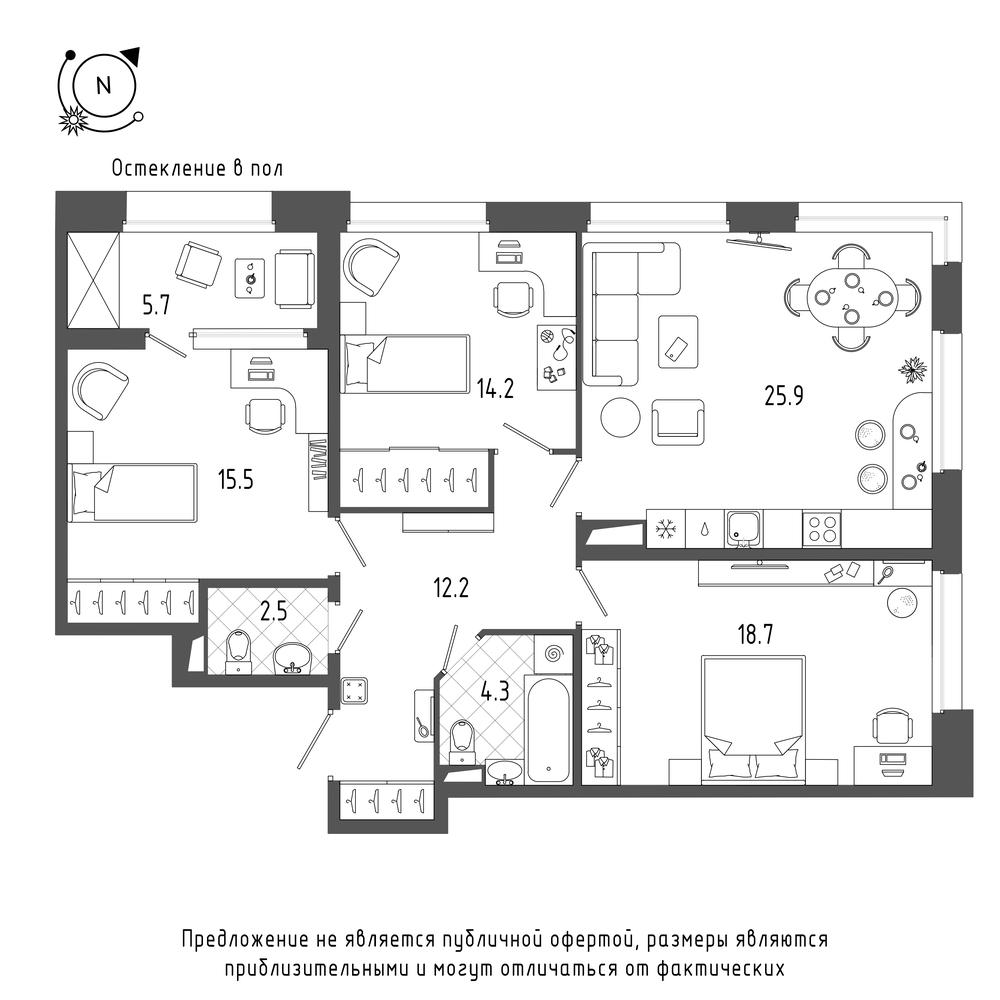 планировка трехкомнатной квартиры в  №250
