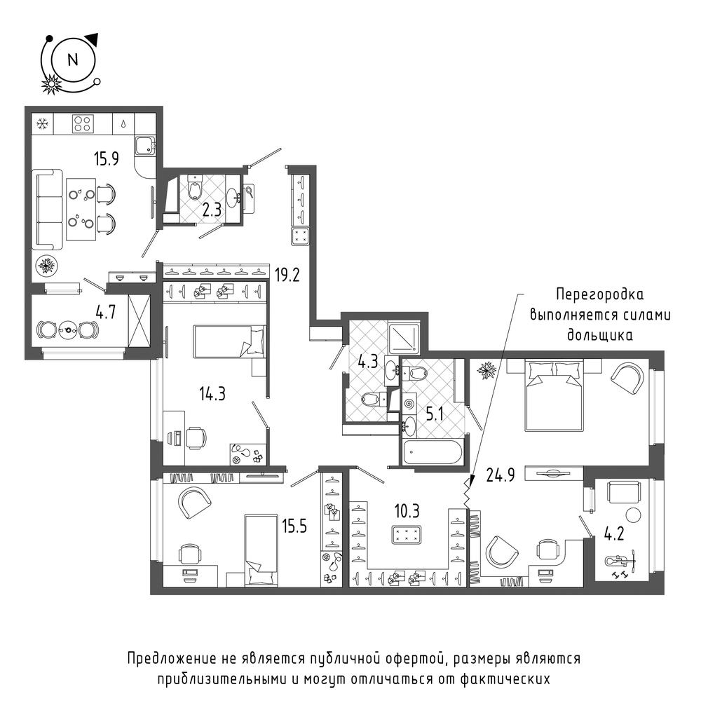планировка трехкомнатной квартиры в  №256