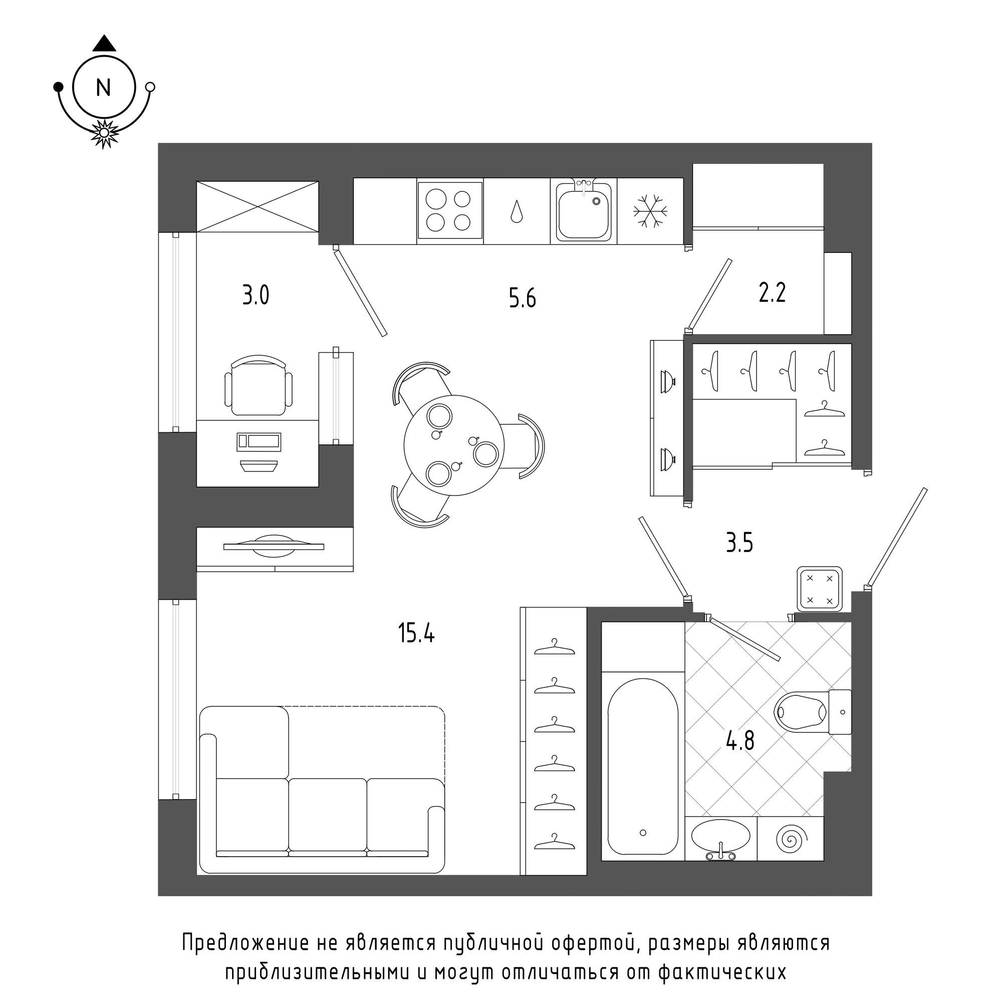 планировка однокомнатной квартиры в  №665