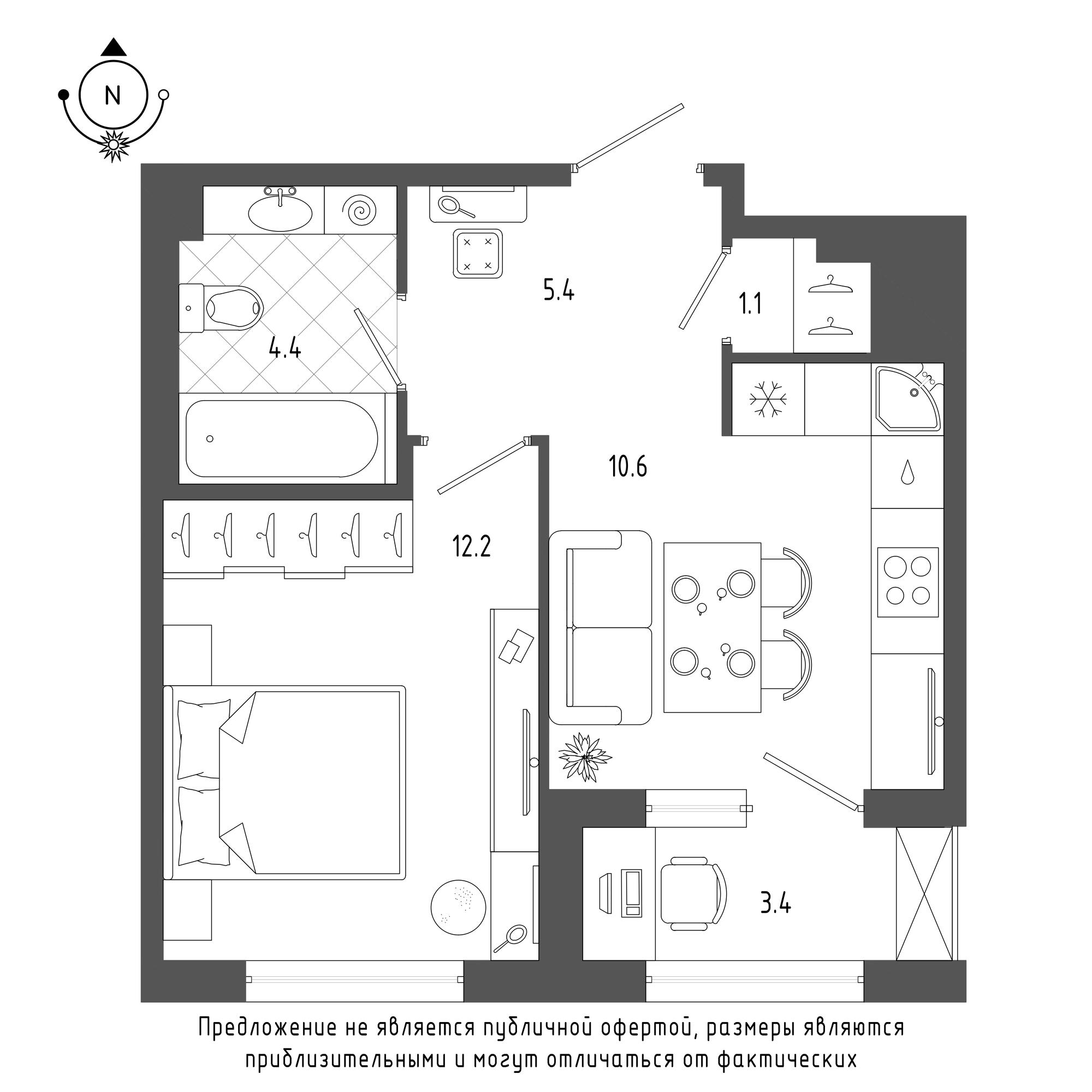 планировка однокомнатной квартиры в  №341