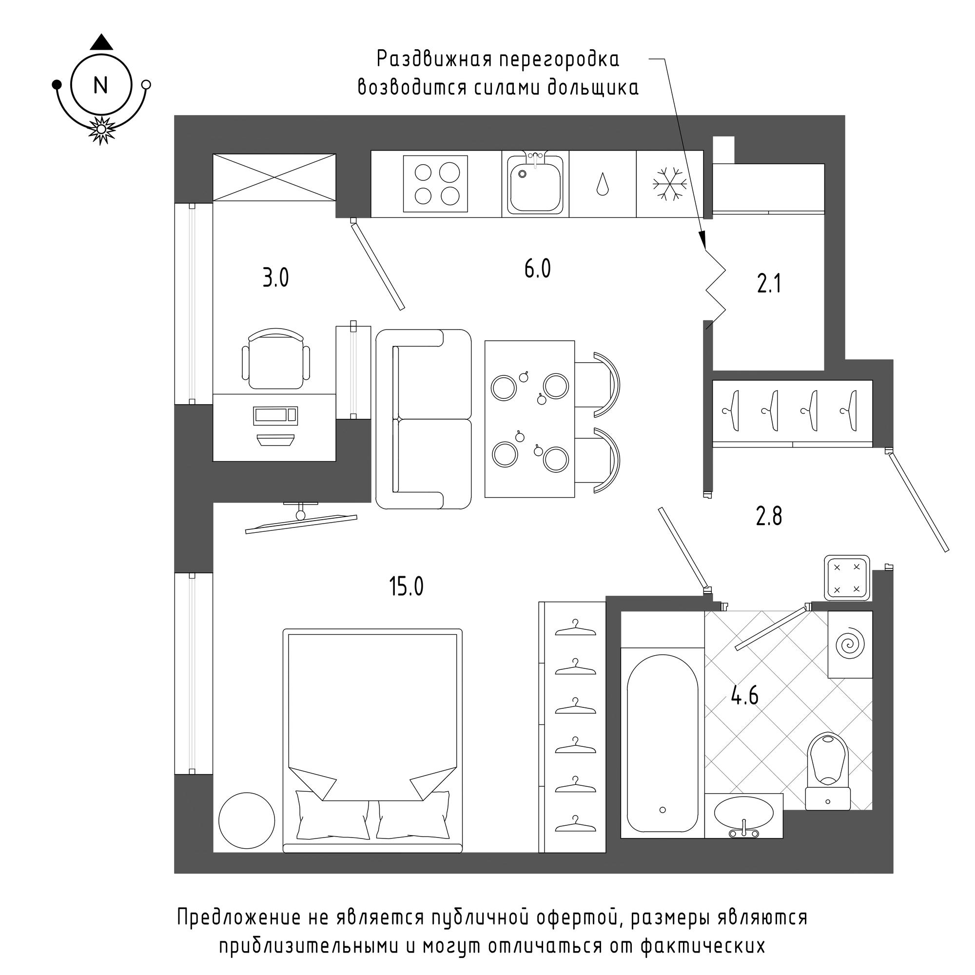 планировка однокомнатной квартиры в  №666