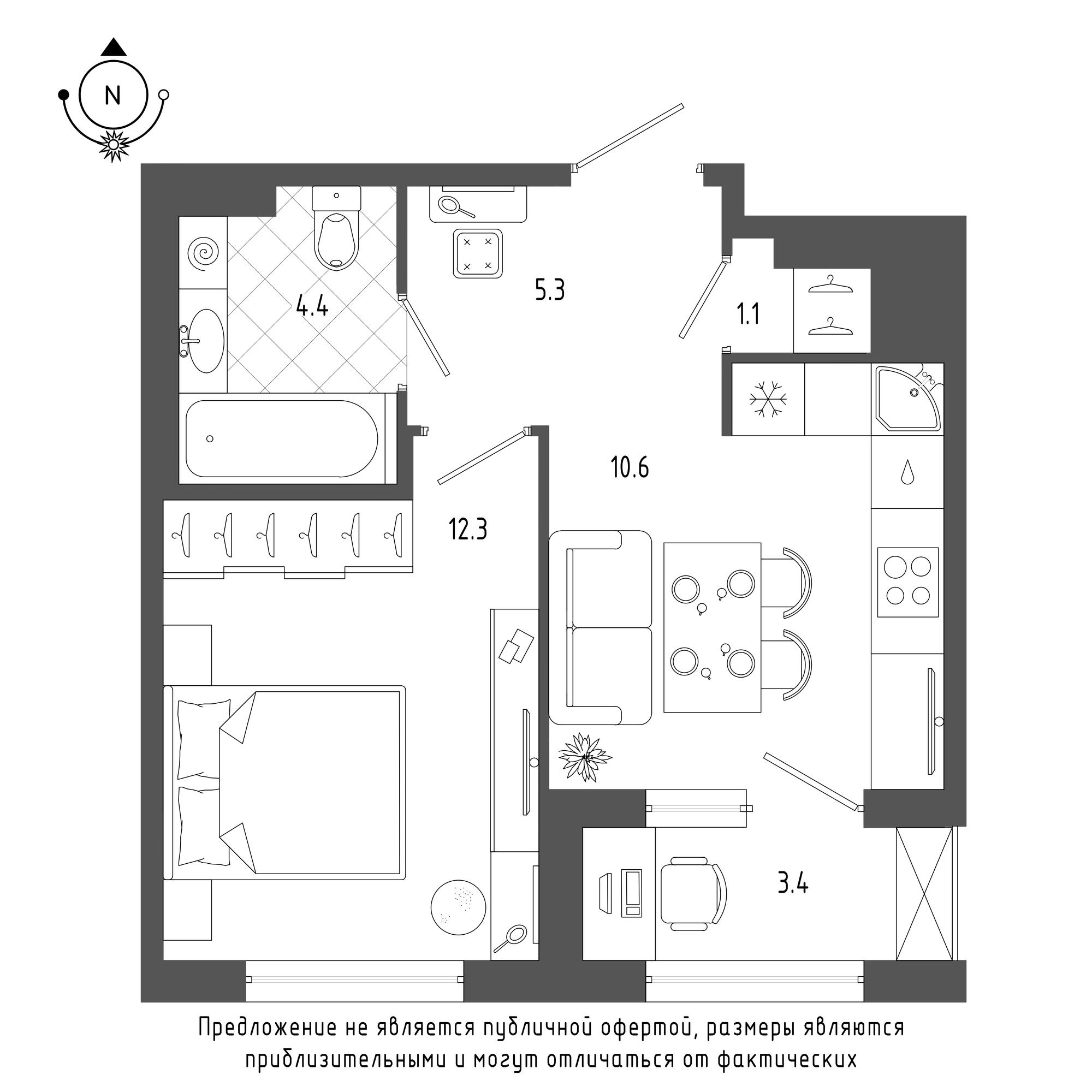 планировка однокомнатной квартиры в  №513