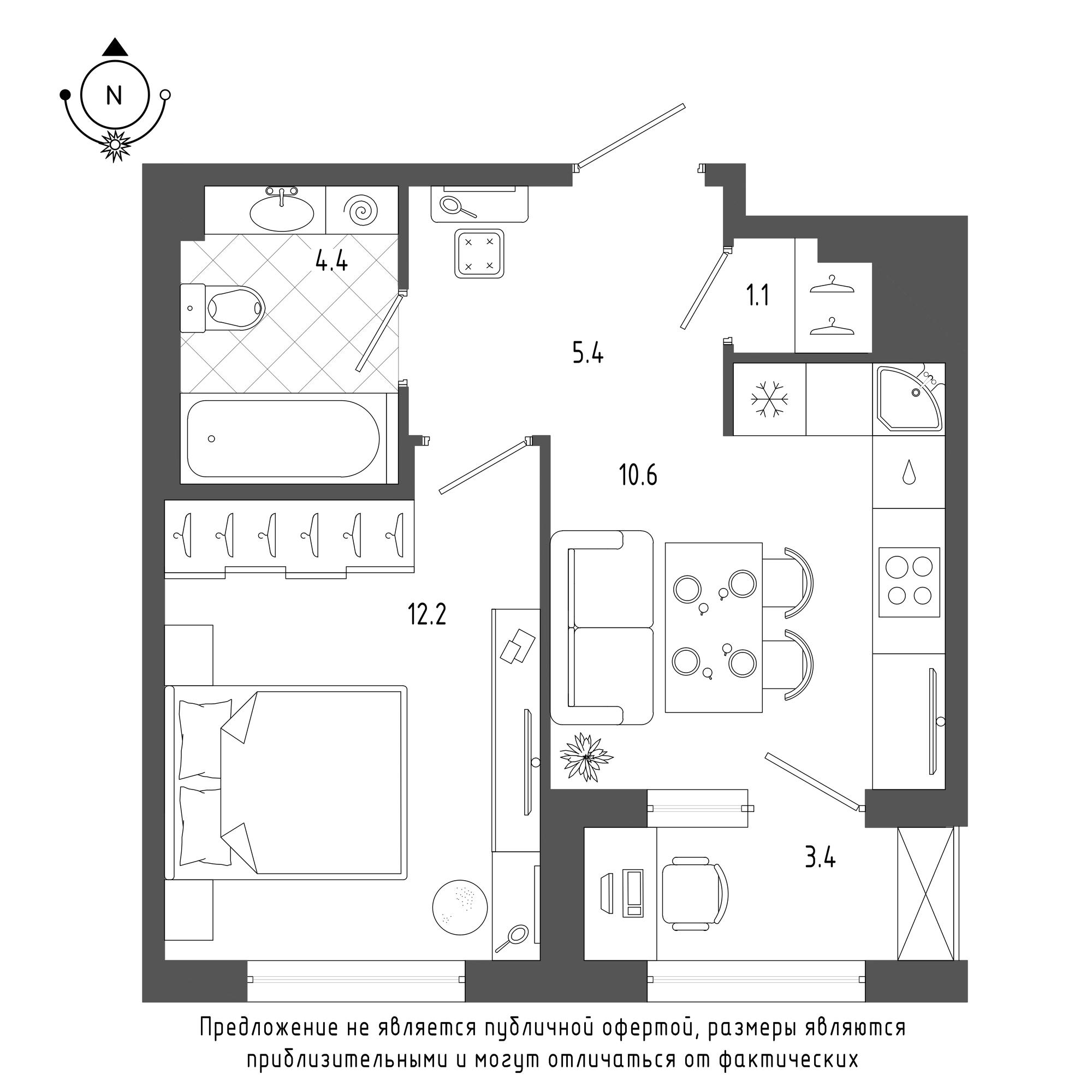 планировка однокомнатной квартиры в  №1075