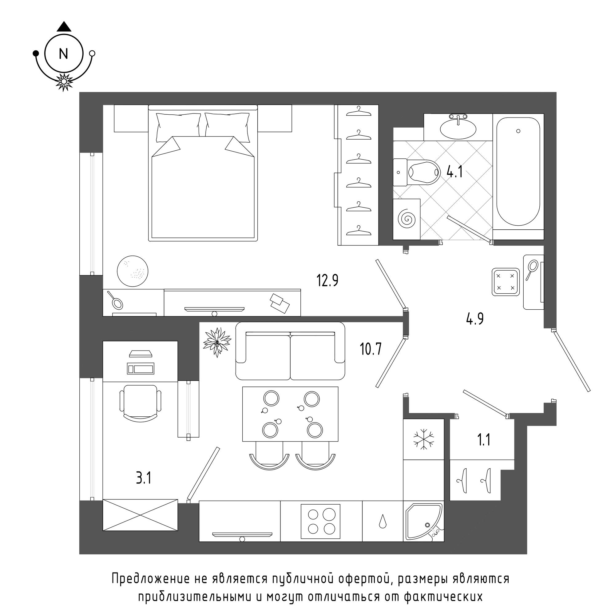 планировка однокомнатной квартиры в  №1374