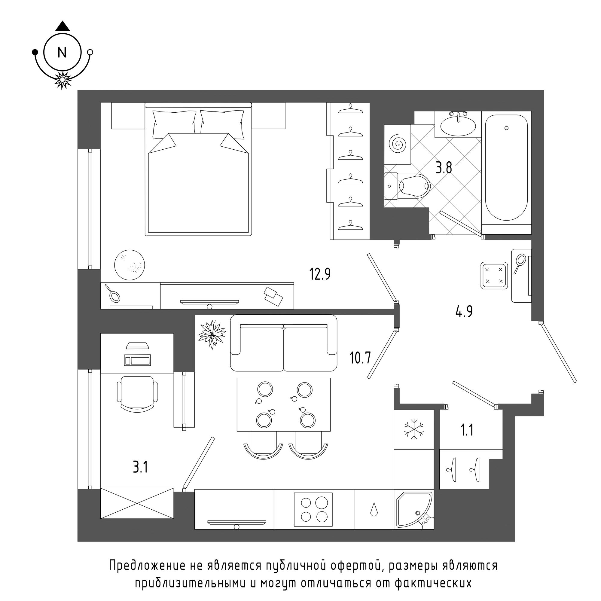 планировка однокомнатной квартиры в  №1379
