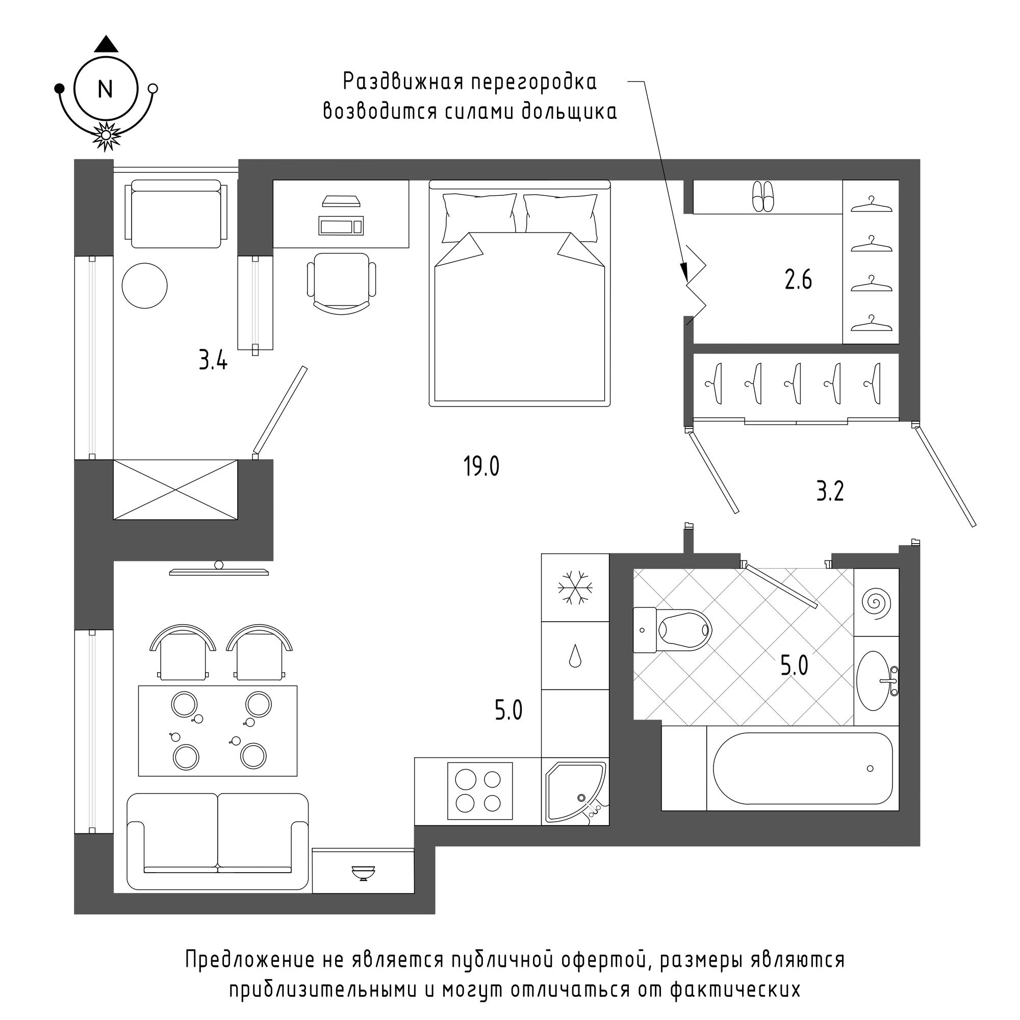 планировка однокомнатной квартиры в  №786