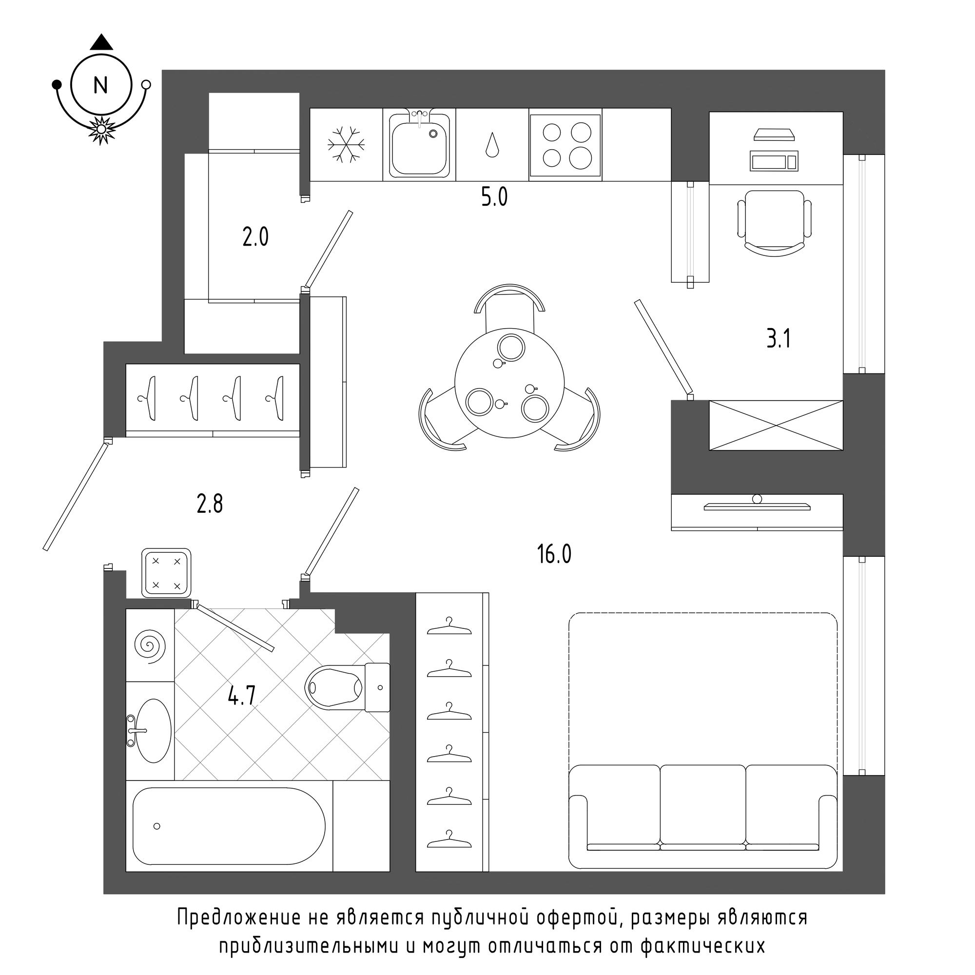 планировка однокомнатной квартиры в  №1193