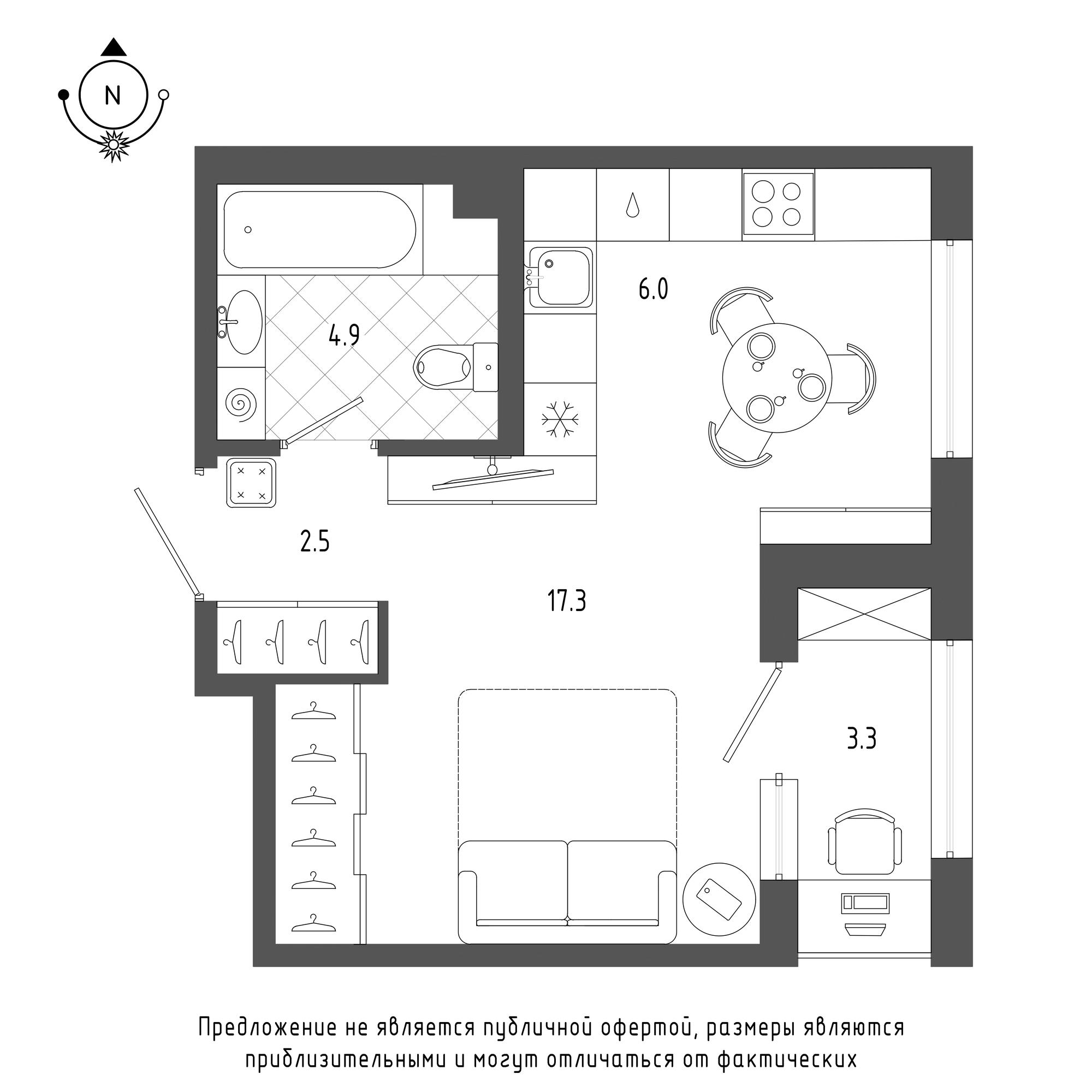 планировка однокомнатной квартиры в  №1284
