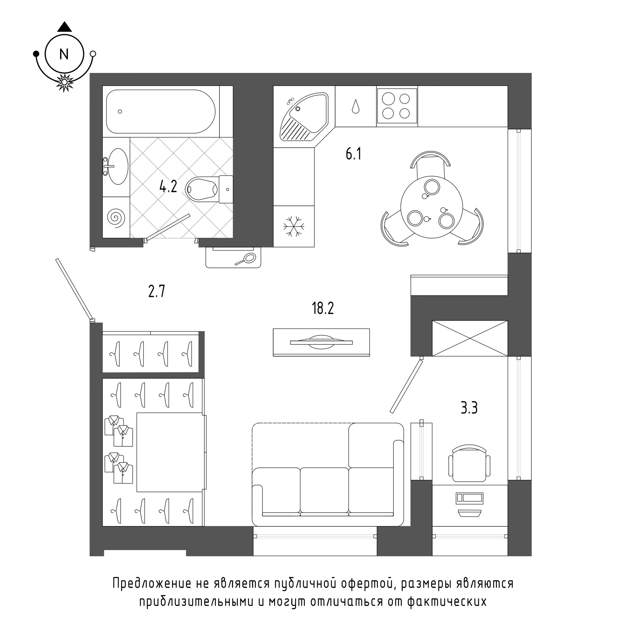 планировка однокомнатной квартиры в  №1335