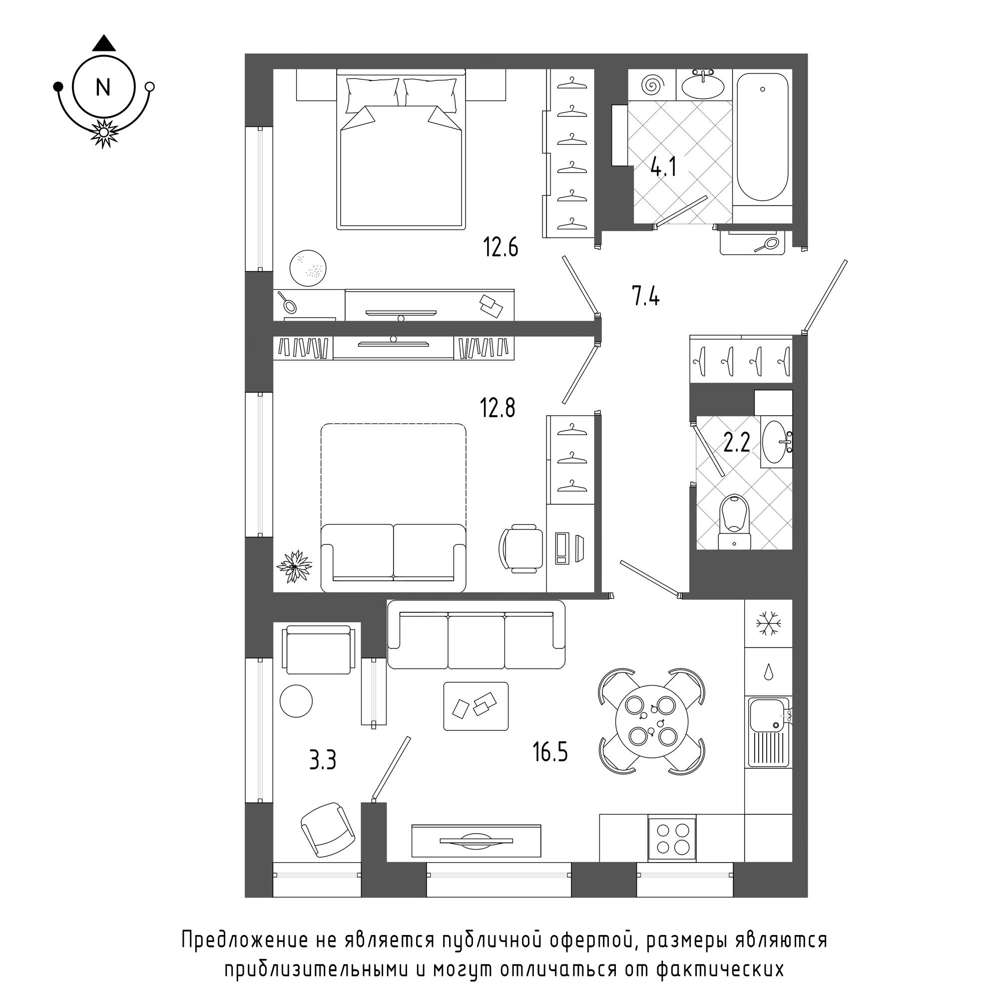 планировка двухкомнатной квартиры в  №1378