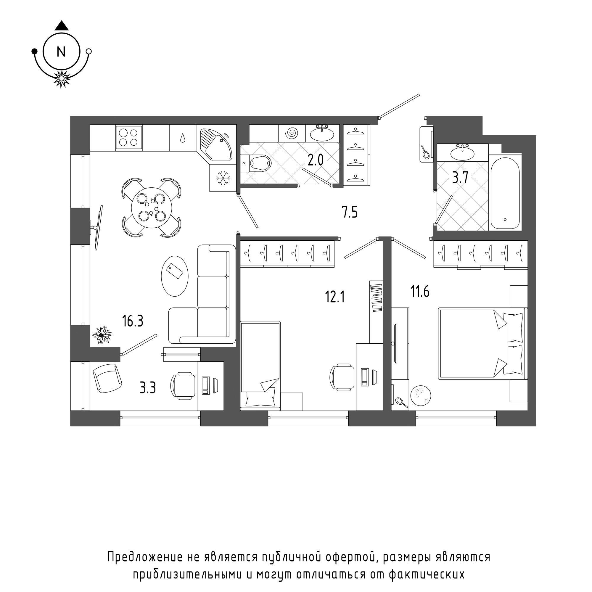 планировка двухкомнатной квартиры в  №393