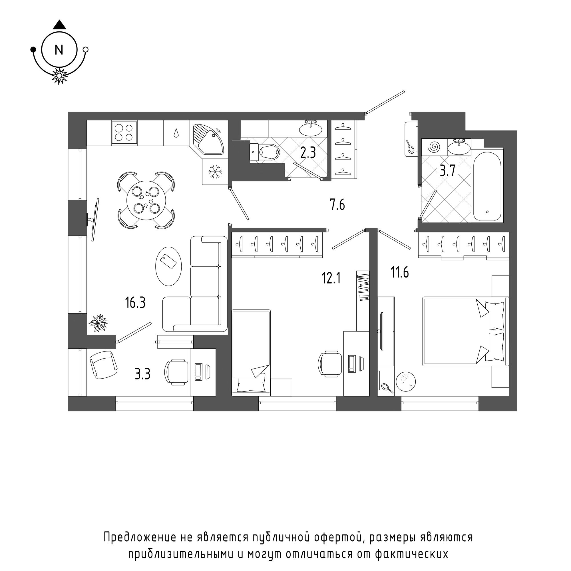 планировка двухкомнатной квартиры в  №397