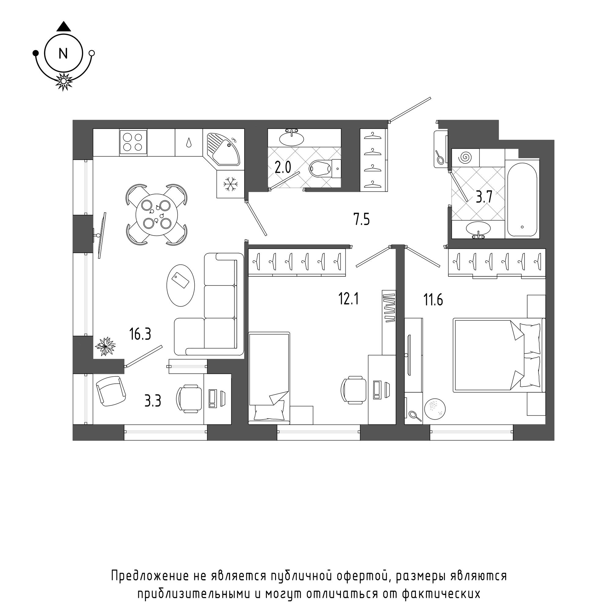 планировка двухкомнатной квартиры в  №19