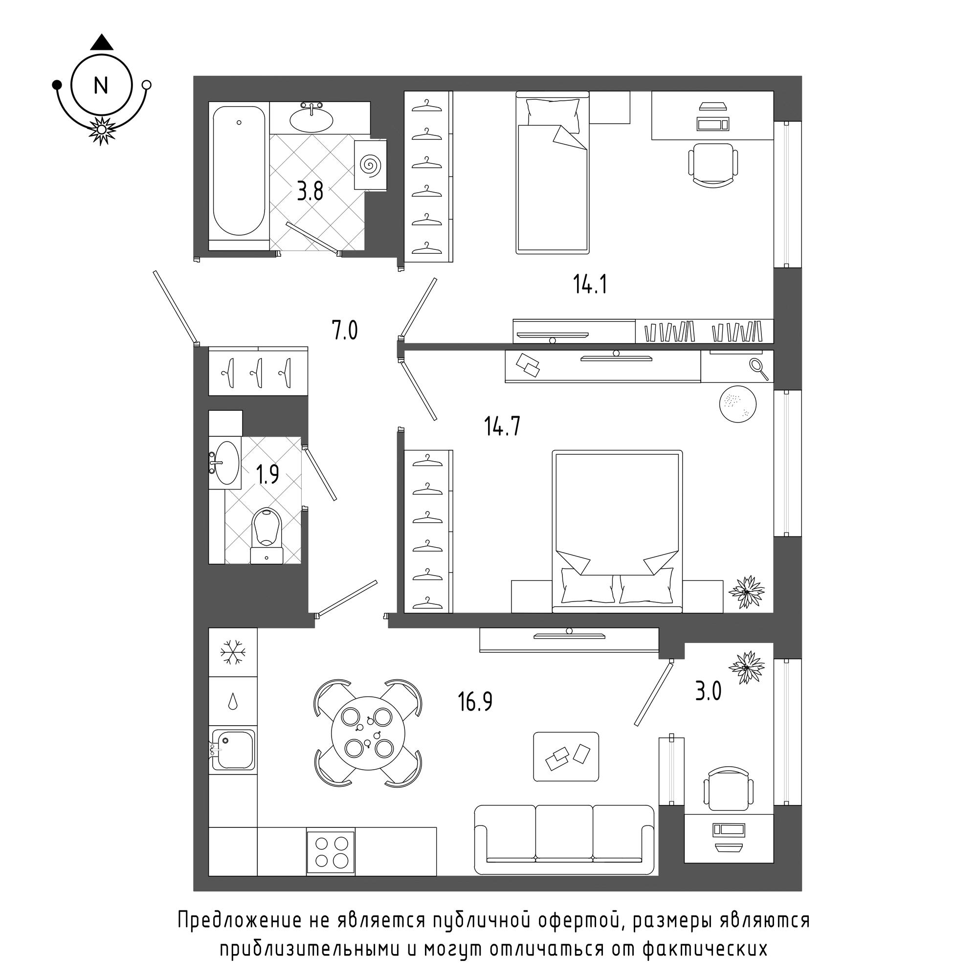планировка двухкомнатной квартиры в  №1147