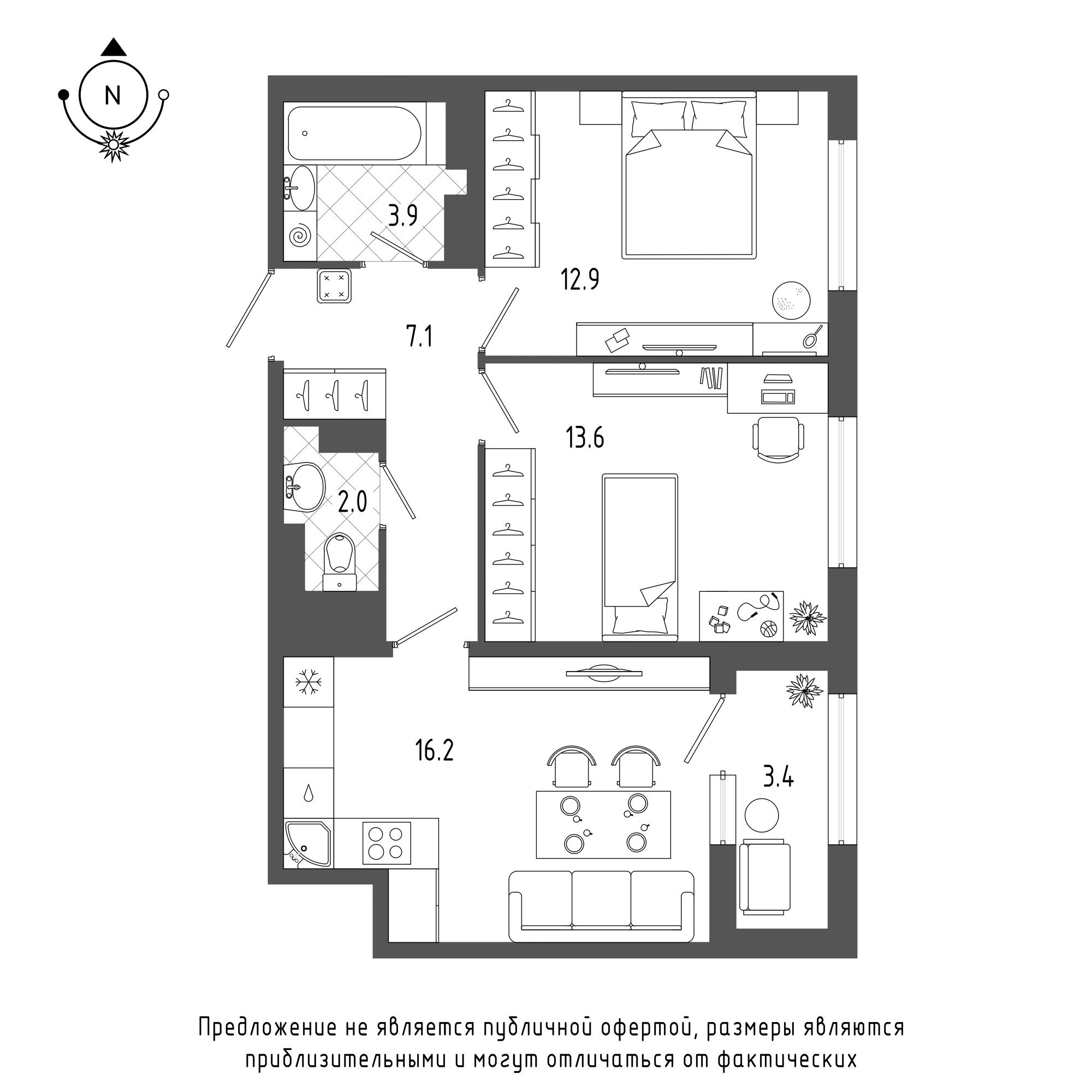 планировка двухкомнатной квартиры в  №733