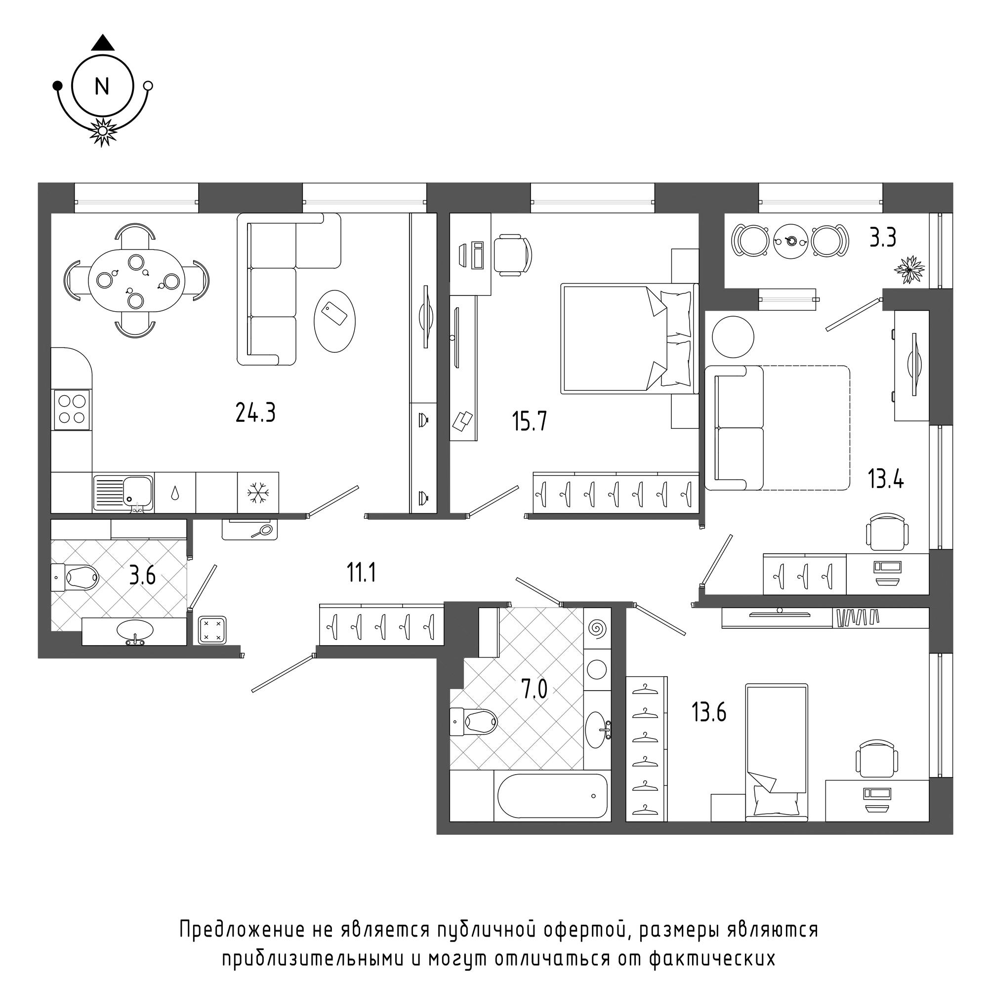 планировка трехкомнатной квартиры в  №106