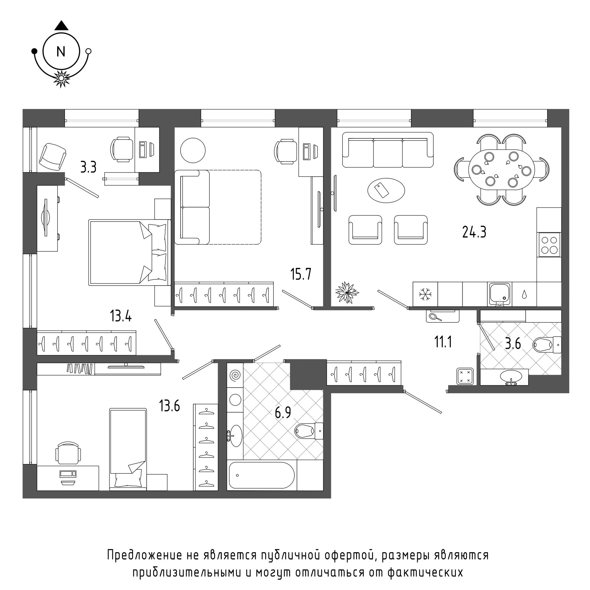 планировка трехкомнатной квартиры в  №582