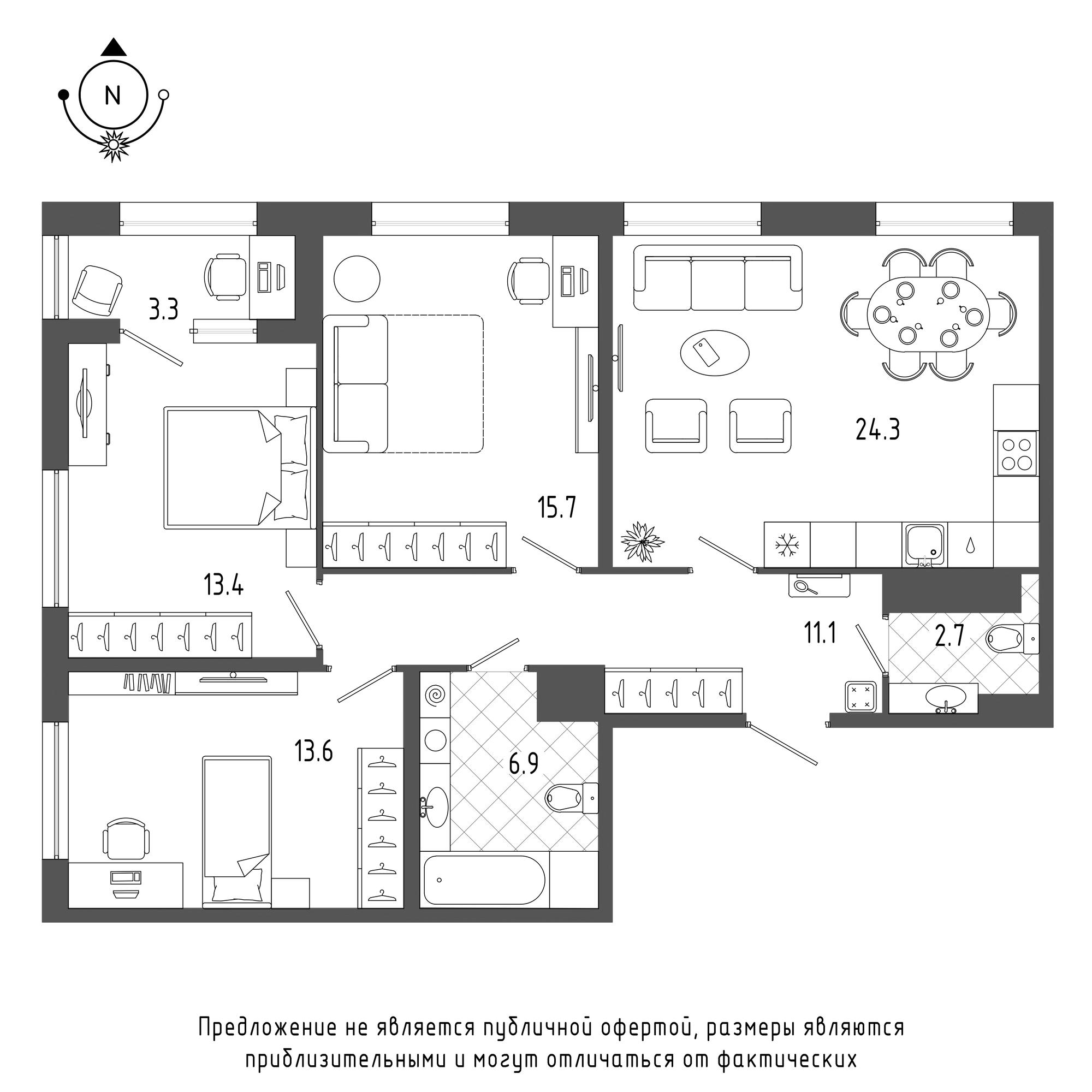 планировка трехкомнатной квартиры в  №612