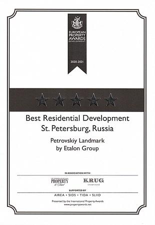 European Property Awards Development: Best Residentaial